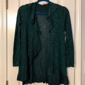 Green/Navy heathered drape front cardigan